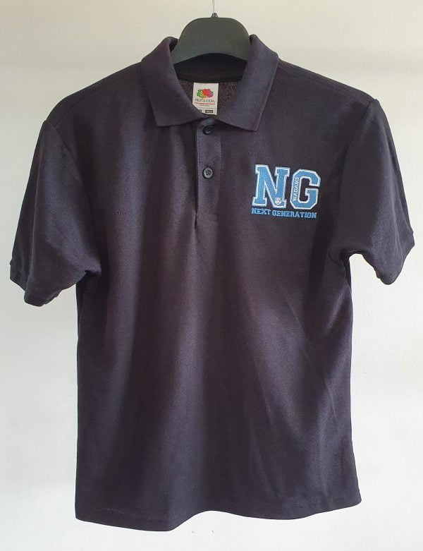 Adults Black Polo Shirt with Next Gen Logo 1