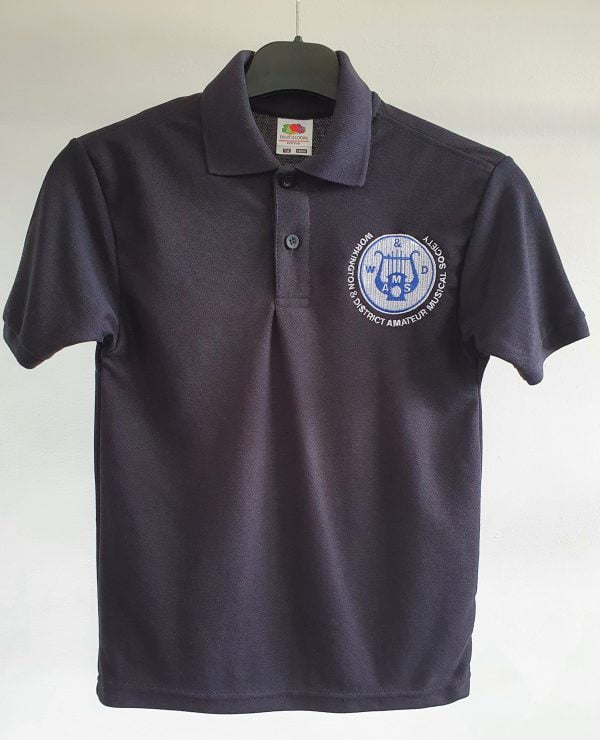 Child's Black Polo Shirt with WADAMS Logo 1